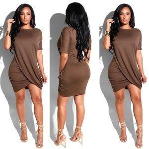 Sexy Solid O-Neck Short Sleeve Mini Dress